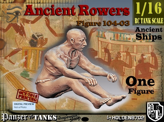 1/16 Ancient Rower fig104-03 in White Natural Versatile Plastic