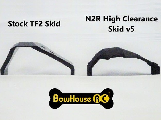 N2R High Clearance Skid for TF2 v5 in Black Natural Versatile Plastic