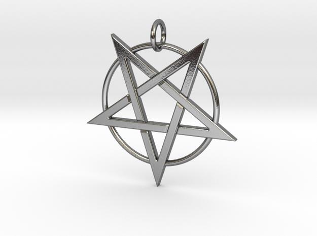 last pentagram3 in Polished Silver