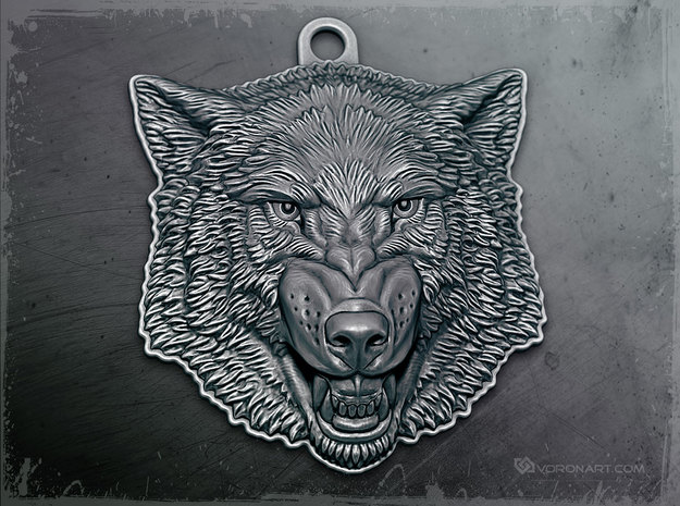 Growling Wolf face relief. Pendant 4cm in Antique Silver