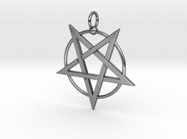 last pentagram3updatedver4 in Polished Silver