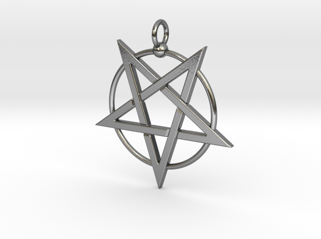 last pentagram3updatedver6 in Polished Silver