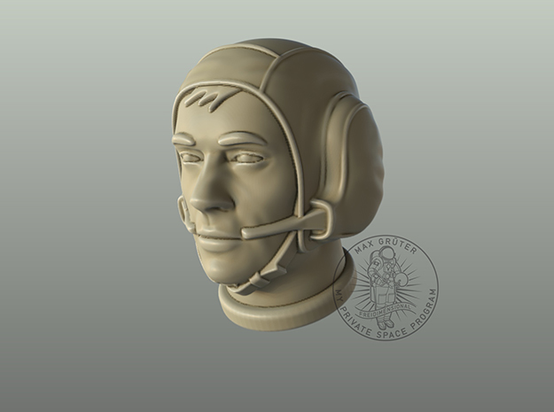 """Astronaut Head with """"Snoopy Cap"""" /  1:6 in White Natural Versatile Plastic"""