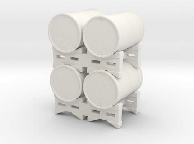 4-55 gal Drums Stack O-scale in White Natural Versatile Plastic