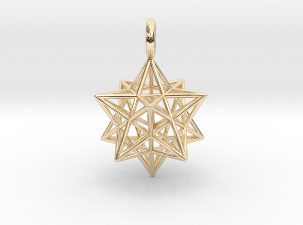 Stellated Dodecahedron 23mm in 14k Gold Plated Brass