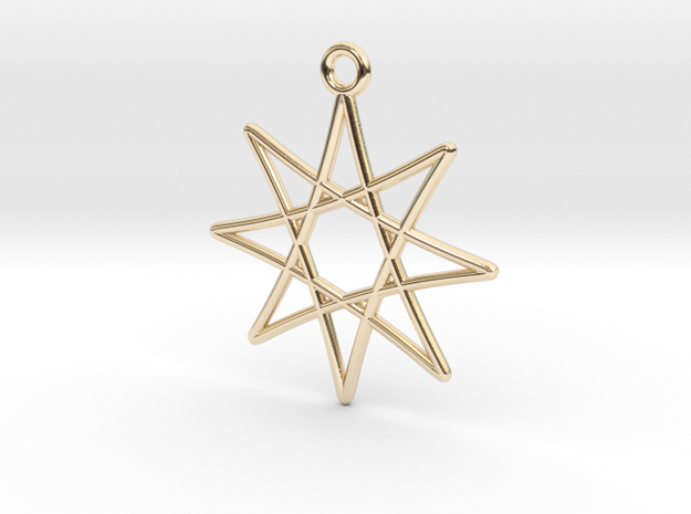 Spirograph Star Pendant, 8 Points in 14K Yellow Gold