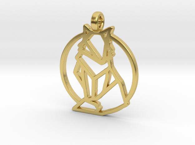 Geometric Fox Pendant in Polished Brass