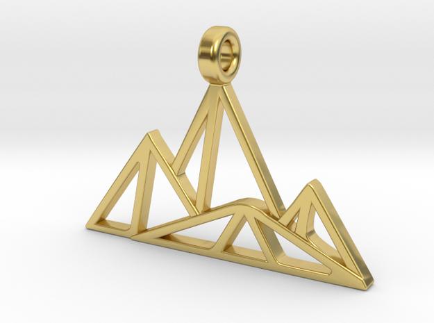 Geometric Mountain Pendant in Polished Brass