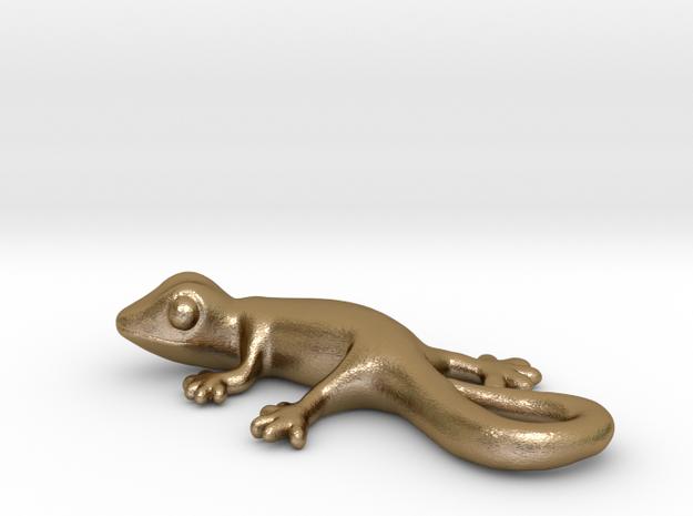 Cute Gecko Keychain in Polished Gold Steel