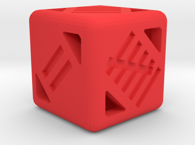 D6 16mm - Tally Marks in Red Processed Versatile Plastic