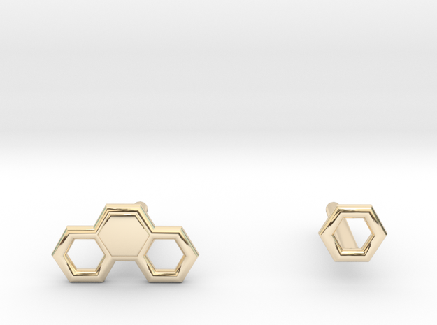 Honey comb stubs in 14k Gold Plated Brass