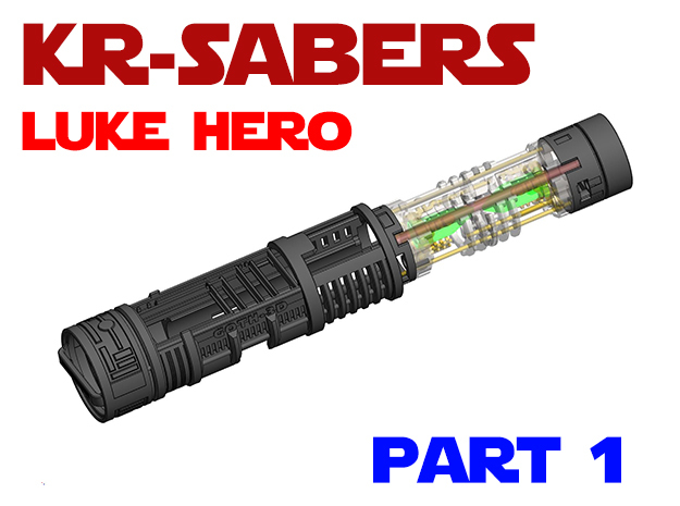 KR Luke Hero - Part1 Lightsaber Chassis in White Natural Versatile Plastic
