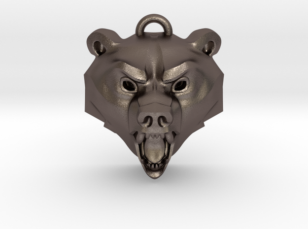 Bear Medallion (hollow version) medium in Polished Bronzed-Silver Steel: Medium