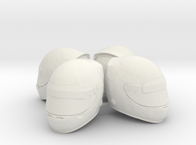 F1 Helmet 1/8 4pack in White Natural Versatile Plastic