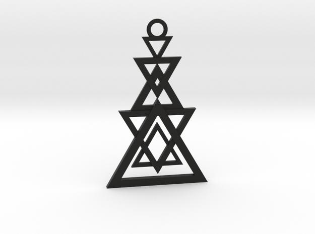Geometrical pendant no.11 in Black Natural Versatile Plastic: Medium