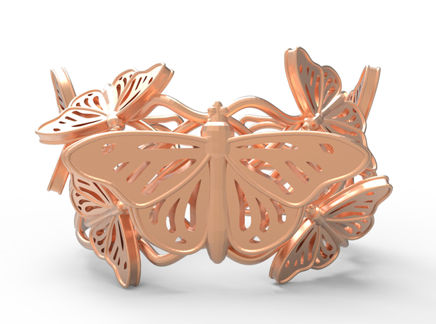 Butterflies in Love_ Bracelet_ S in Polished Gold Steel