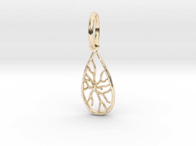 Tree Stone Pendant  in 14K Yellow Gold