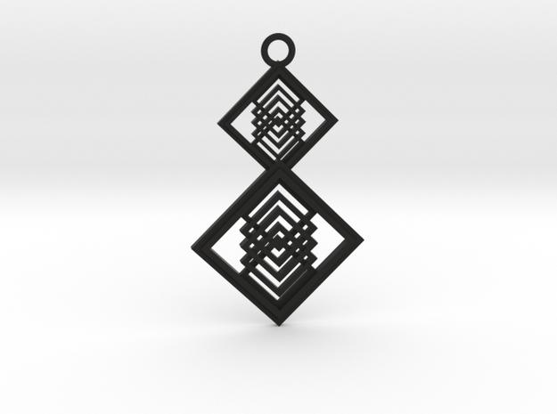 Geometrical pendant no.15 in Black Natural Versatile Plastic