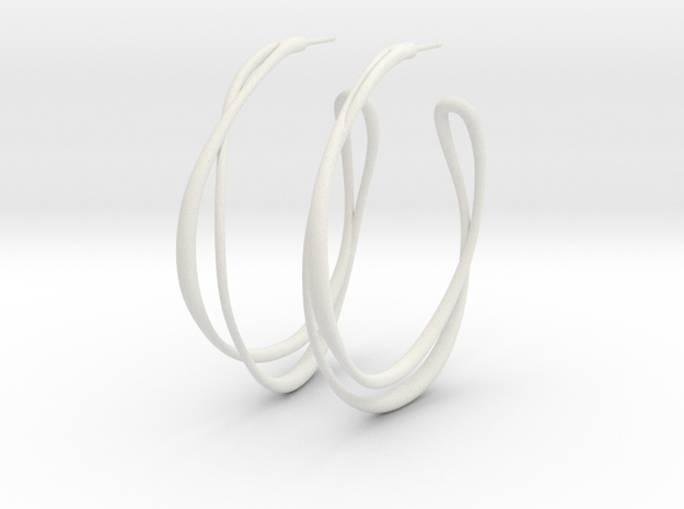 Looped Hoop Earring (smooth surface) in White Natural Versatile Plastic