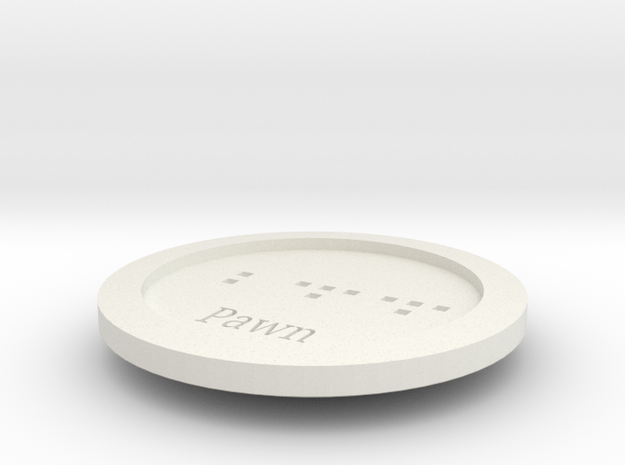 Gungi Game Piece pawn in White Natural Versatile Plastic