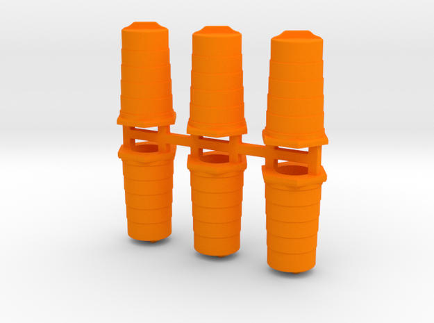 Traffic Barrels/Drums in Orange Processed Versatile Plastic: 1:144