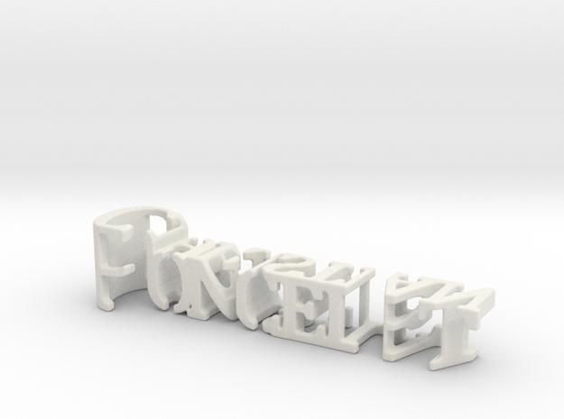 3dWordFlip: Poncelet/Christian in White Natural Versatile Plastic