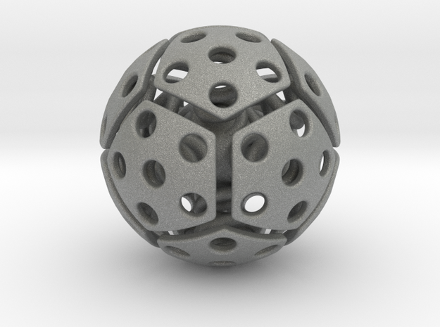 bouncing cat toy ball perforated size L in Gray PA12: Large