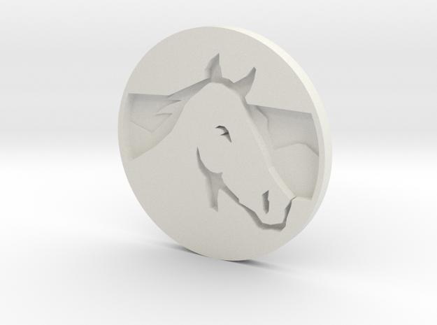 Horse Pendant 2 in White Natural Versatile Plastic