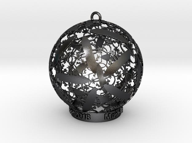 Unicorn Solstice Ornament in Polished and Bronzed Black Steel: Medium