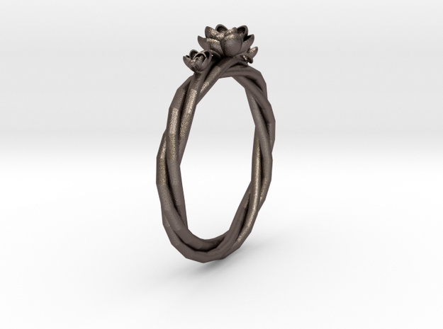 Dunce Cap Ring in Polished Bronzed-Silver Steel: 1.5 / 40.5