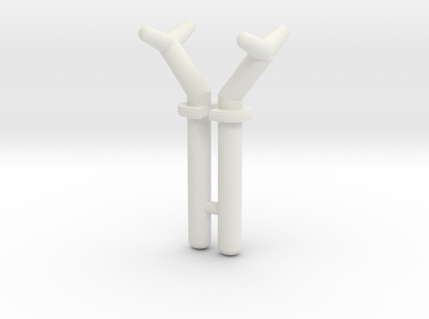 USS Flagg Superstructure Y-Pins (x2) in White Natural Versatile Plastic