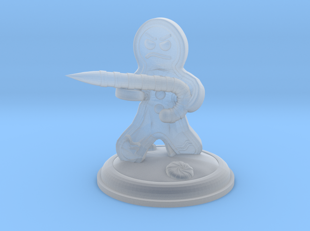 25mm Gingerbread Man with Candy Cane Weapon in Smooth Fine Detail Plastic