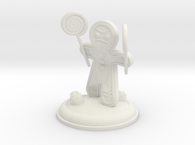 Gingerbread Warrior With Lollipop Mauls 25mm in White Natural Versatile Plastic