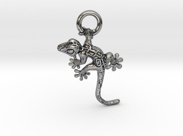 Gecko Pendant in Antique Silver