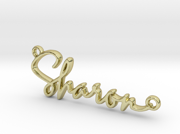 Sharon Script First Name Pendant in 18k Gold Plated Brass