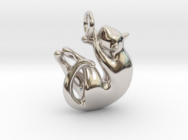 cat_003 in Rhodium Plated Brass
