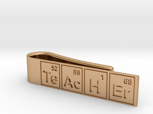 "Periodic table ""teacher"" tie bar in Polished Bronze"