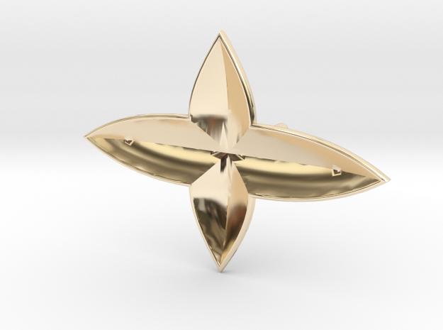 Wide Clover Earring in 14K Yellow Gold
