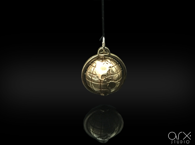 World Pendant in Polished Brass: Extra Small