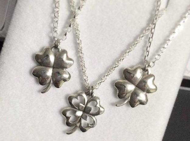 4 Leaf Clover Charm in Polished Silver