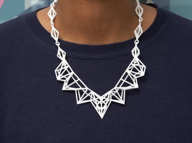 Radical Necklace 3d printed White Strong & Flexible Polished - Picture by Shapeways