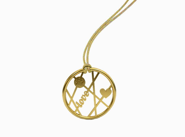 Unconditional Love Round Pendant in 14k Gold Plated Brass