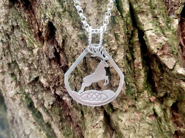 Celtic Zodiac Stag/Deer pendant in Natural Silver