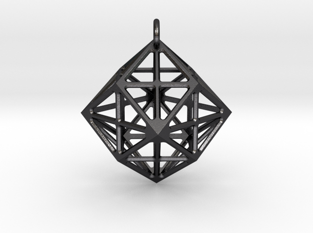 Simple geometric  pendant in Polished and Bronzed Black Steel