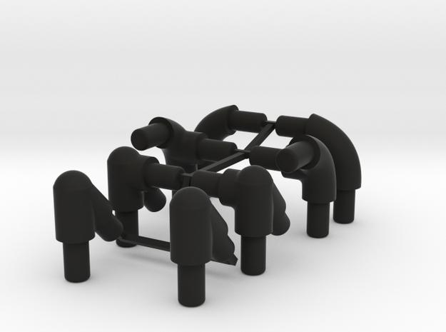 Roll Cage Corner Braces - 6MM and 4MM diameters in Black Natural Versatile Plastic