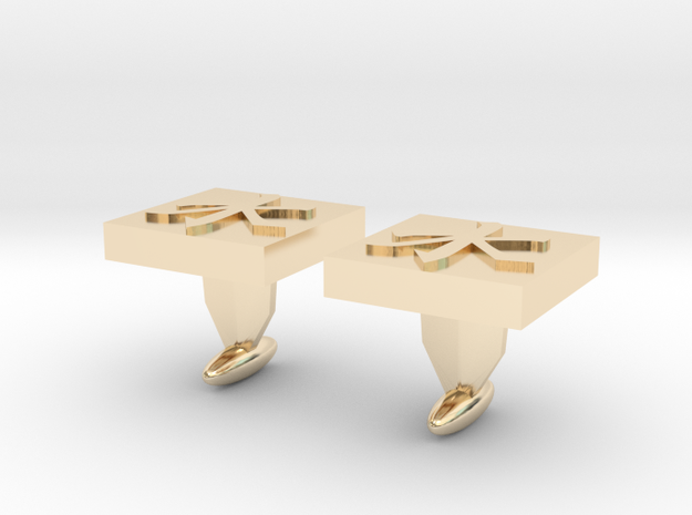 Confucianism Cuff Links in 14k Gold Plated Brass