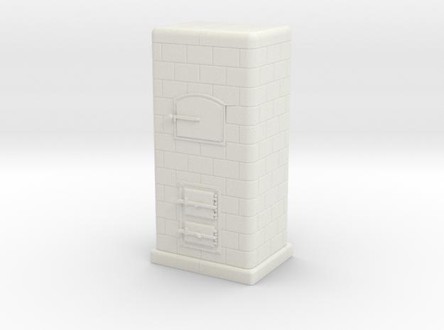 TT Tiled coal-burning stove 1:120 (Id) in White Natural Versatile Plastic