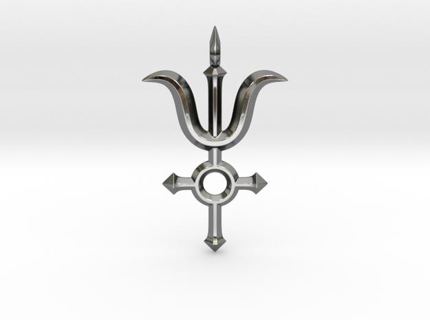 Angel Cross Pendant III in Fine Detail Polished Silver