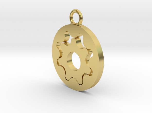 Gerotor Earring 8:7 ratio in Polished Brass