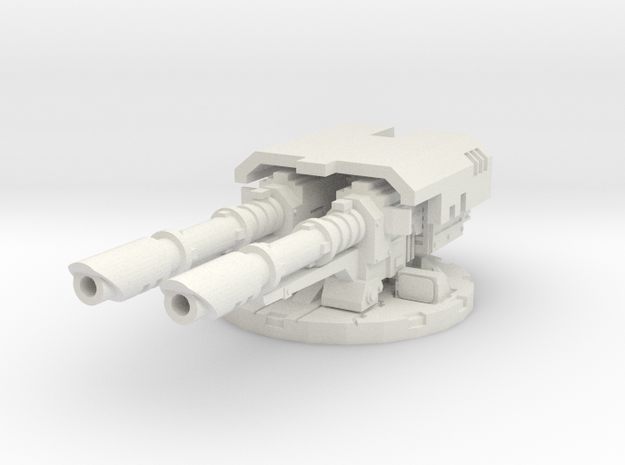 complete cannon mount for laser cannons - 28mm S in White Natural Versatile Plastic